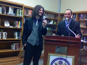Hosts Gagliardi and Gambino entertained the crowd at today's Poetry Slam.