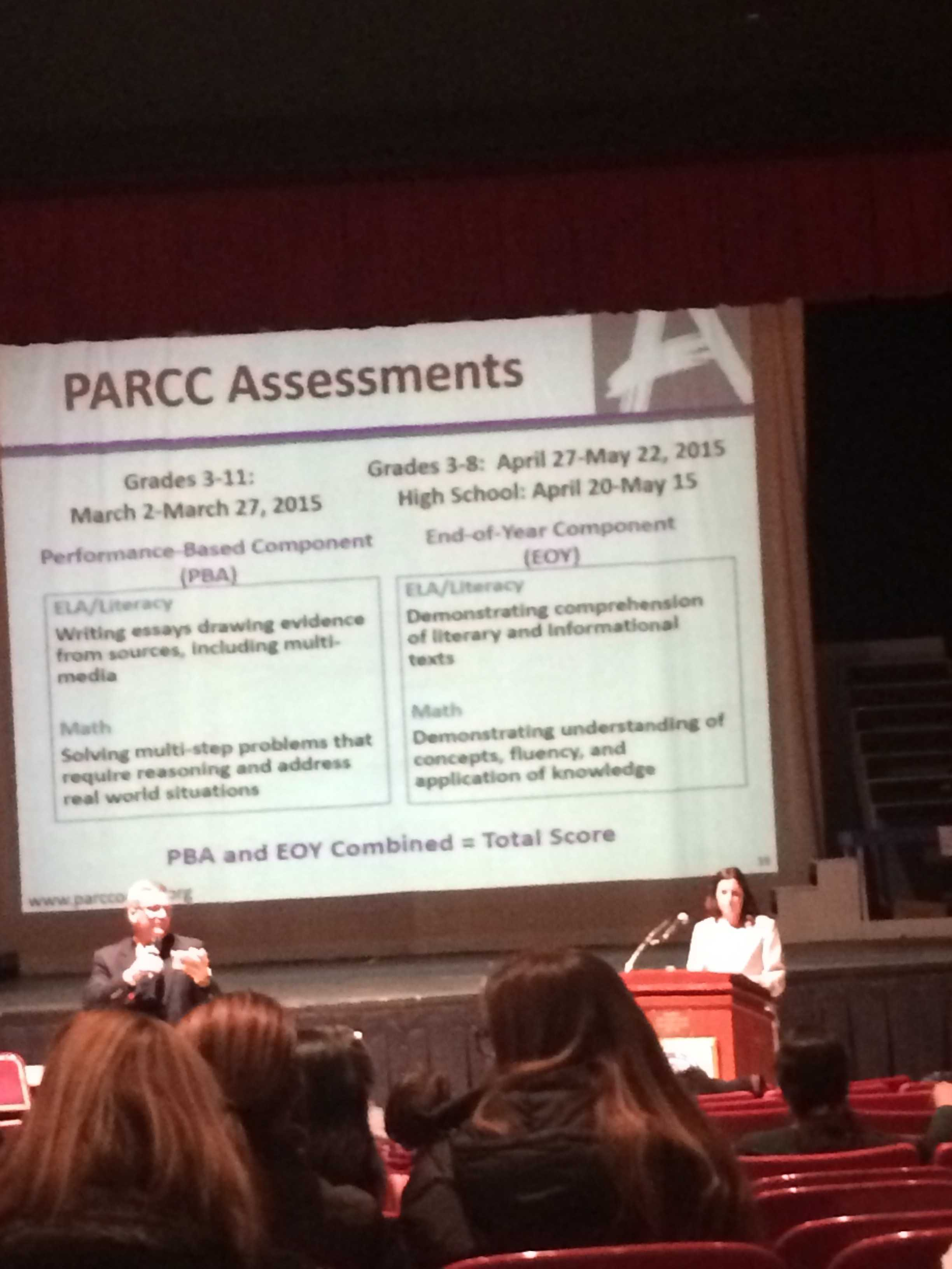 A preview of some basic content for the PARCC test that was shown at a public meeting at Cherry Hill East.