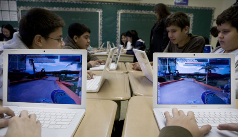 A video game helps eighth grade students in Brooklyn with their algebra skills.