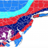 A weather map of New Jersey shows a lot of snow coming.