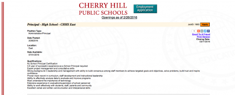 Cherry Hill Public School posts qualifications for a new Principle at Cherry Hill East.