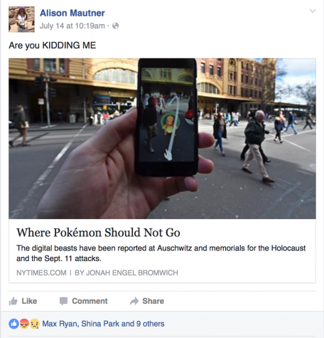 Alison Mautner ('16) is outraged by Pokémon Go characters appearance at Auschwitz, and other Holocaust sites.