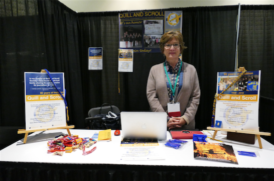 Judy Hauge showcases the Quill and Scroll organization at the #nhsjc trade show.