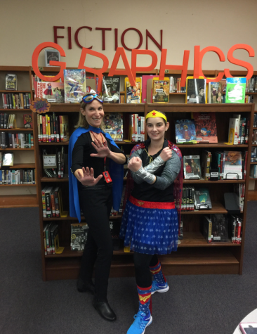 Ms. Greenblatt and Ms. O'Reilly rock Spirit Week with their costumes.