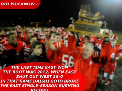 """Crowd gathers on Wednesday night at Cherry Hill West to witness the annual """"Boot"""" game between East's and West's football teams"""