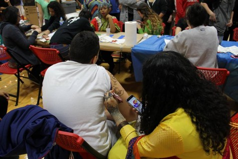 The Indian Culture club offered hennas to students in the DiBart gym.